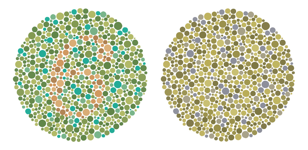 Two circular images with differently coloured and sized dots