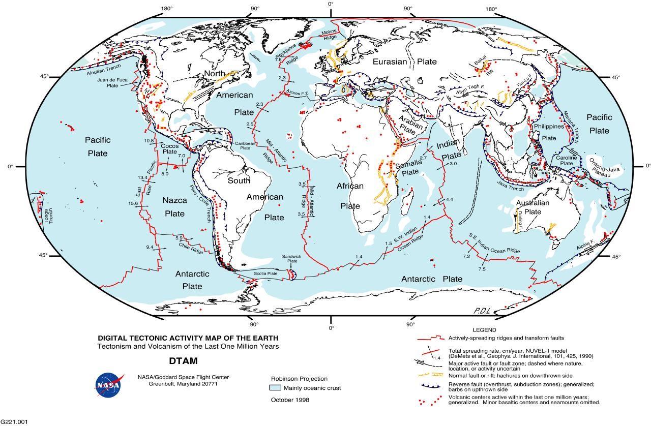 diagram of tectonic plates earth's crust