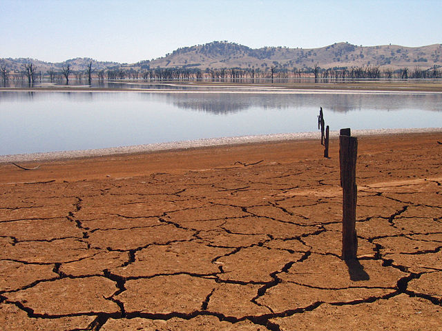 Lake Hume at 4 per cent capacity, during a drought.