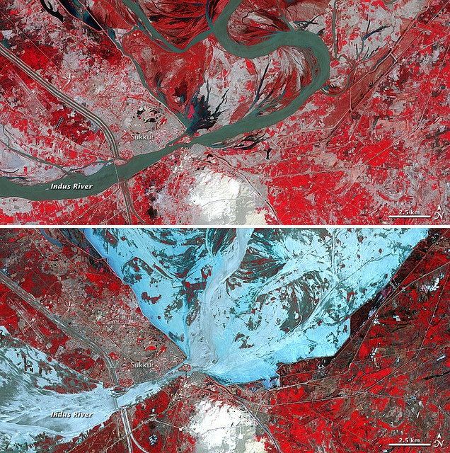 A false-colour satellite photo showing the extent of damage surrounding the Indus River during the 2010 Pakistan floods.