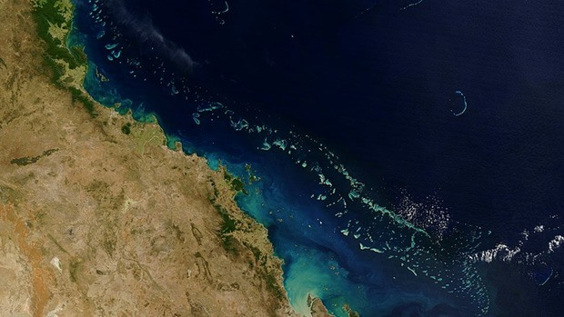 A view of the Great Barrier Reef from above