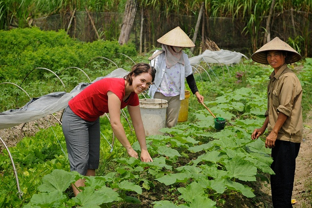 A volunteer working with the Thanh Xuan Organic project in Vietnam.