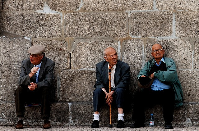 Three elderly men