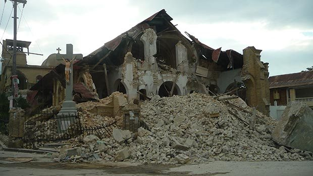 A destroyed building.