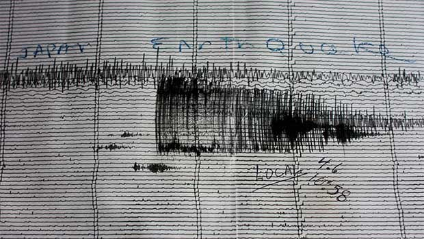 A picture of a seismograph record.