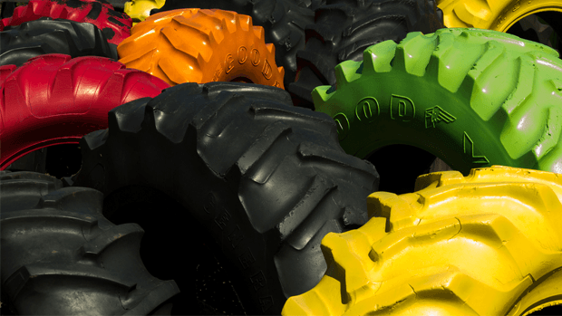 Coloured Goodyear tractor tyres.