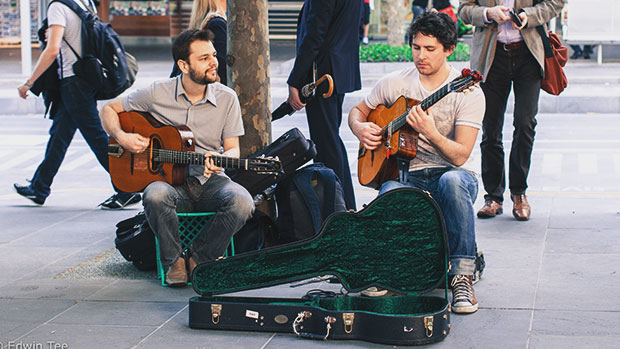 Buskers on the streets.