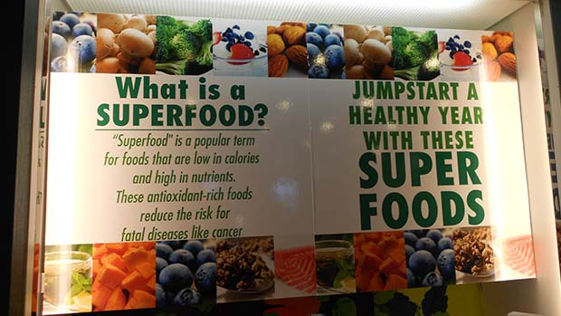 A photo of a display about superfoods.