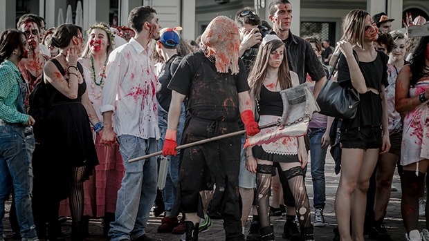 An assortment of people dressed as zombies