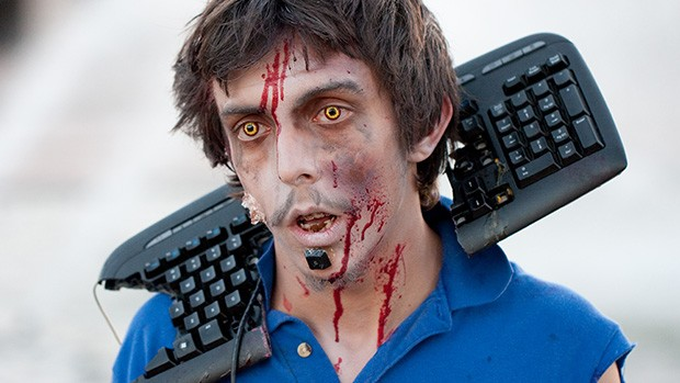 A zombie with a smashed keyboard