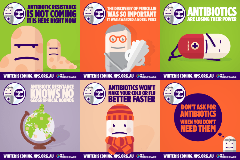 6 posters from NPS MedicineWise with cartoon style illustrations promoting awareness of antimicrobial resistance