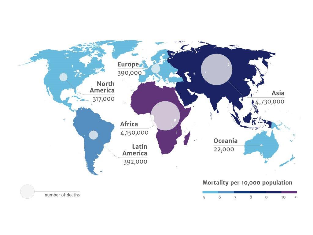 World map showing numbers of deaths caused by antimicrobial resistance
