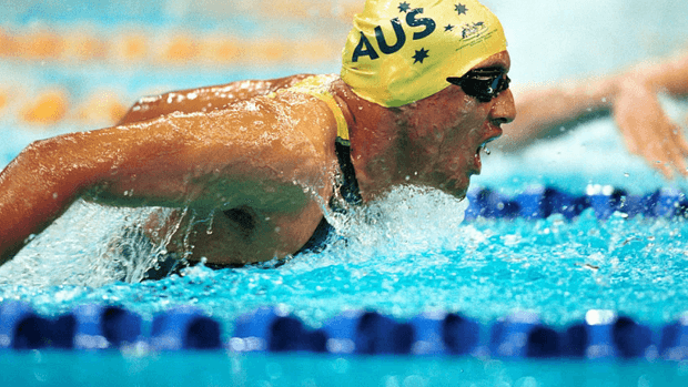 A swimmer in the butterfly race.