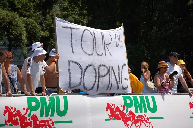 Protest banner against doping at the Tour de France, 2006.