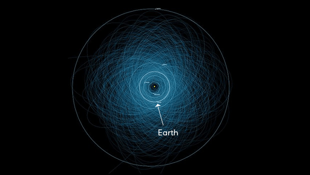 A diagram showing the orbits of potentially hazardous asteroids. There are a lot of them!
