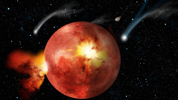 An artist's impression of the moon heated up by a bombardment of asteroid and comet collisions.