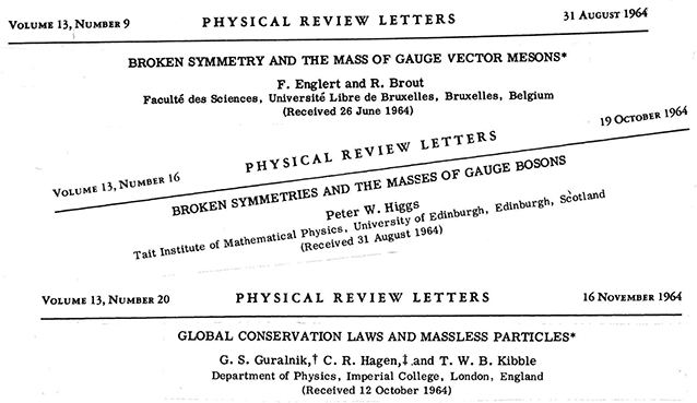 Headlines of the three separate papers published in 1964 that all discuss the concept of 'broken symmetries'. They are 'Broken symmetry and the mass of gauge vector mesons', 'Broken symmetries and the masses of gauge bosons', and 'Global conservation laws and massless particles'.