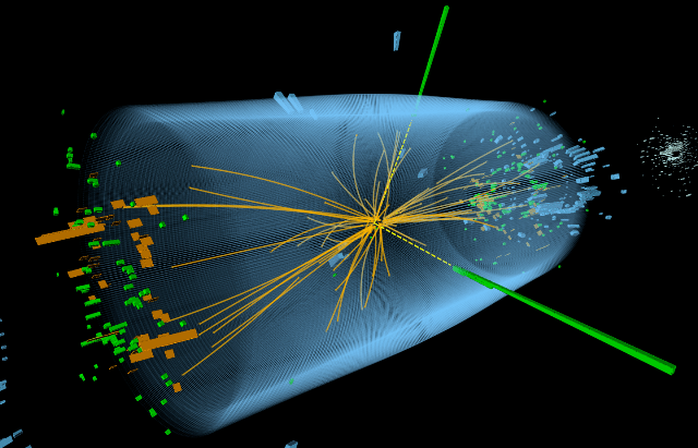 Image of an event recorded in the CMS detector showing the production of two photons.
