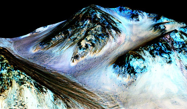 Picture of recurring slope lineae features believed to be evidence of flowing water on Mars