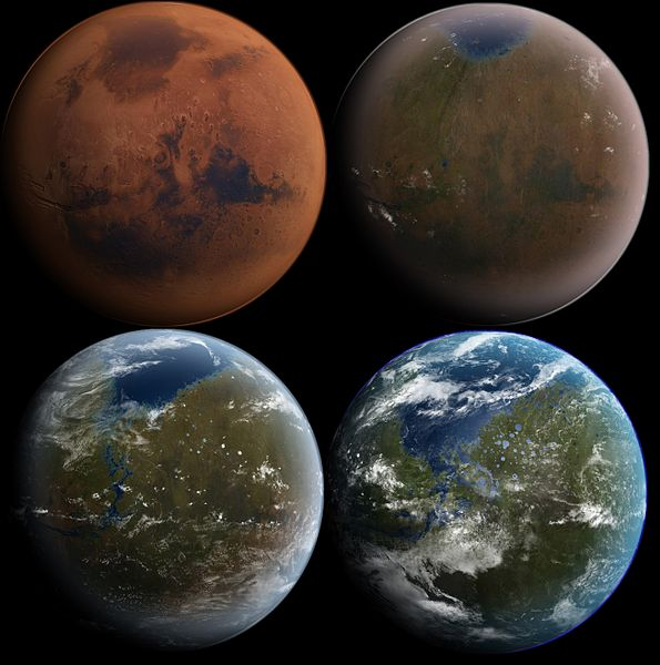 Four images showing the progression of the development of a biosphere on Mars