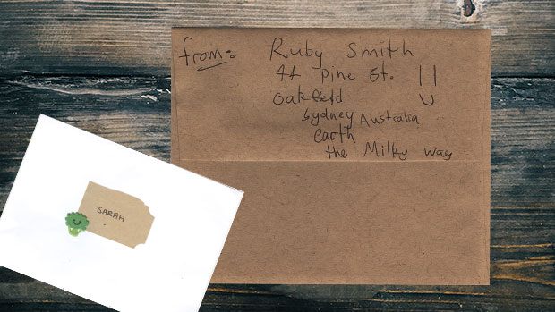 Letter with Milky Way address.