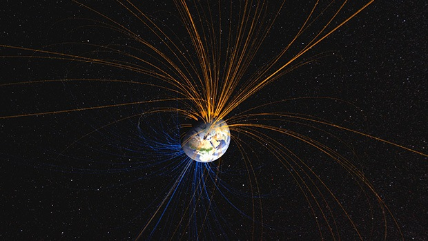 A visualisation of Earth's magnetic field.