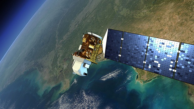 An artist's rendition of a Landsat satellite.