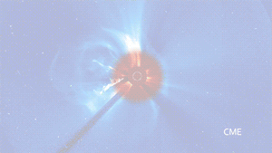 When clicked, this image shows footage of coronal mass ejections (CMEs). They appear as ejections of matter from the sun's surface into space.