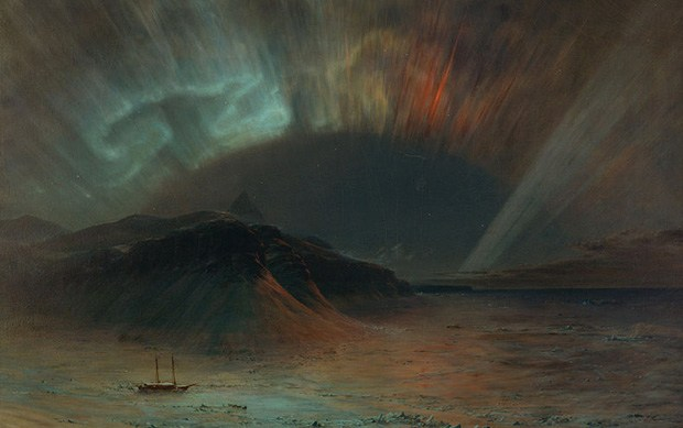 A painting depicting a spectacular show of the northern lights above a coastal region.