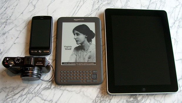 A phone, camera, ereader and tablet