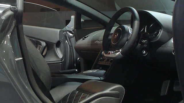 The interior of a luxury car.