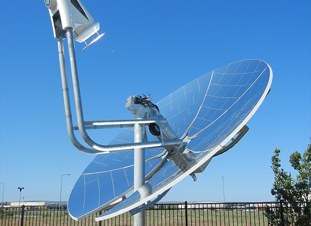 PNNL's concentrating solar power system for natural gas power plants, installed on a mirrored parabolic dish.
