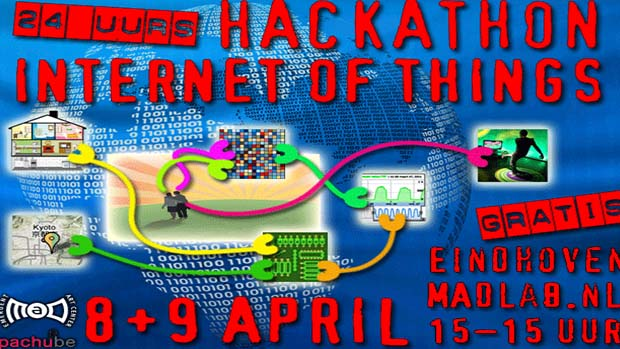 Poster advertising an Internet of things hackathon.