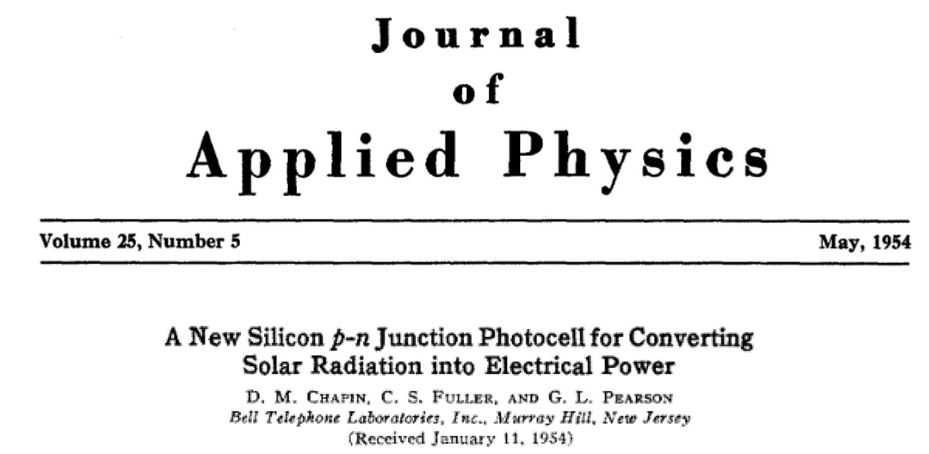 The title of a paper from the Journal of Applied Physics on converting solar radiation into electrical power, dated May 1954.