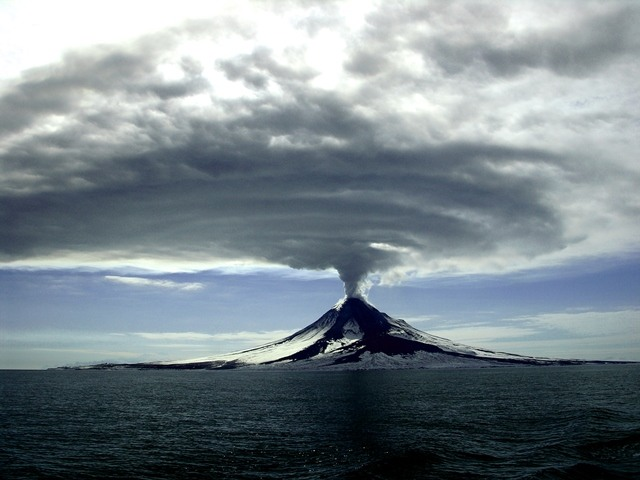 A shot of the Augustine volcano toward the end of it's long eruption that lasted several months.
