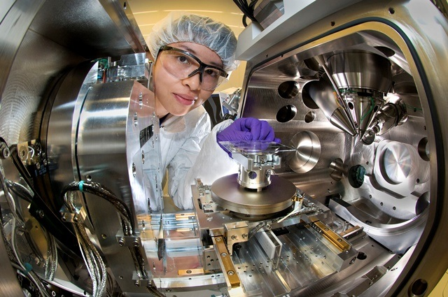 A scientist at the Nanofabrication facility, Brookhaven
