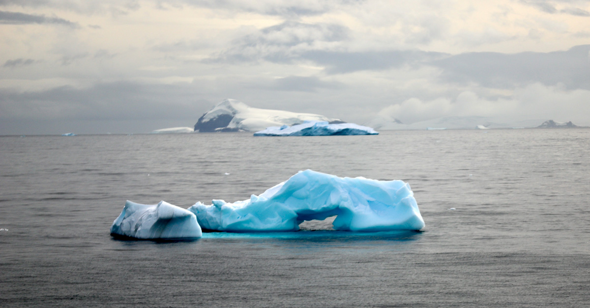 Floating icebergs on a grey ocean