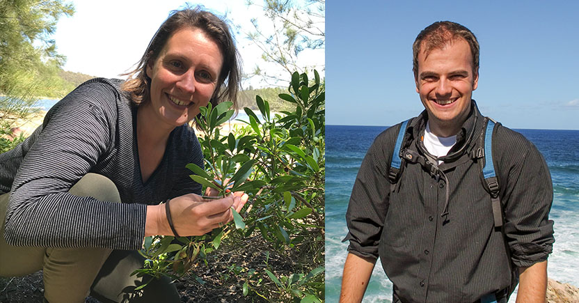 Caitlin Byrt (left) and Antony van der Ent out on fieldwork.