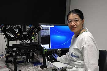 dr iris tong wang in the lab