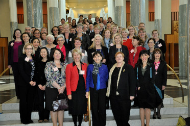 Around 50 representatives on a staircase at Parliament House at the launch