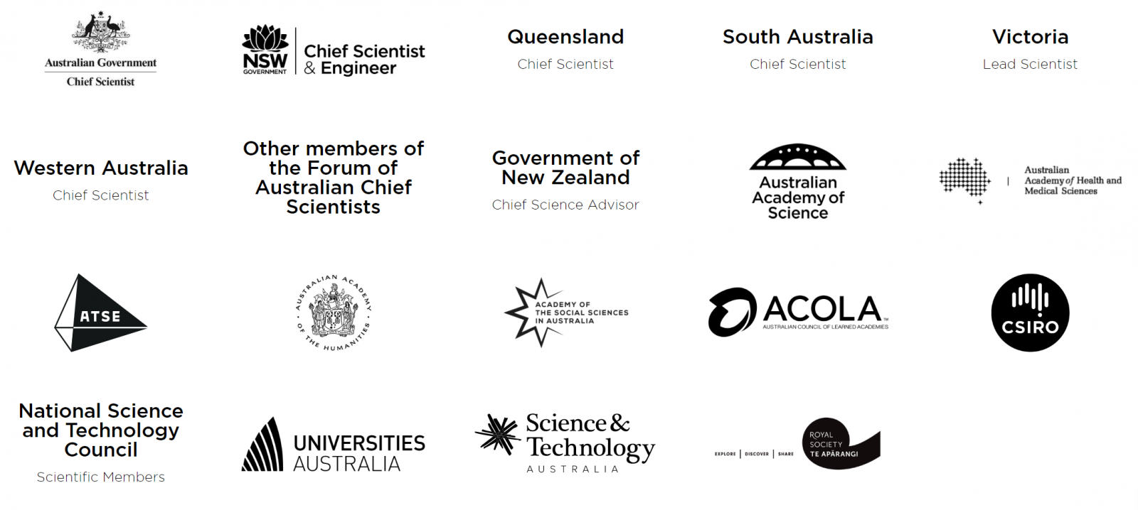 the logos of the various RRIF members