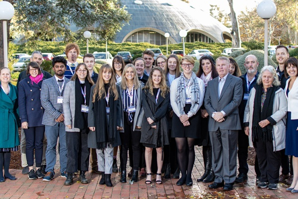 The science students and their teachers with Dr Andy Thomas and Academy Chief Executive, Ms Anna-Maria-Arabia