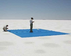 Scientists conducting testing in the desert