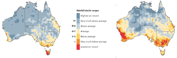 maps show the relative ranking (in 10%increments) of rainfall from July 1995 toJune 2014 compared with the averagesince 1900 for (left) northern Australianwet season (Oct–Apr) and (right)southern Australian wet season(Apr–Nov).