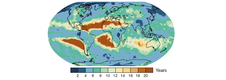 Figure 5.3: Over most continents, a heavy rainfall event that occurs only once in 20 yearstoday is expected to occur at least twice as often by end of the 21st century.