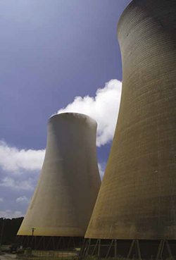 Cooling towers of a power station