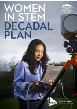 The cover of the Women in STEM decadal plan. It includes a researcher working in the field holding a laptop