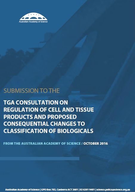 Submission—TGA Consultation On Regulation Of Cell And