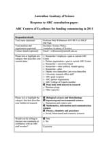 Submission—ARC centres of Excellence for funding commencing in 2011 consultation paper