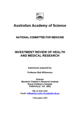 Submission—Investment review of health and medical research